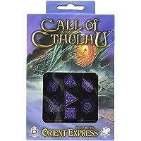 Q Workshop COC Horror on The Orient Express Black & Purple Dice Set (7) Board Games