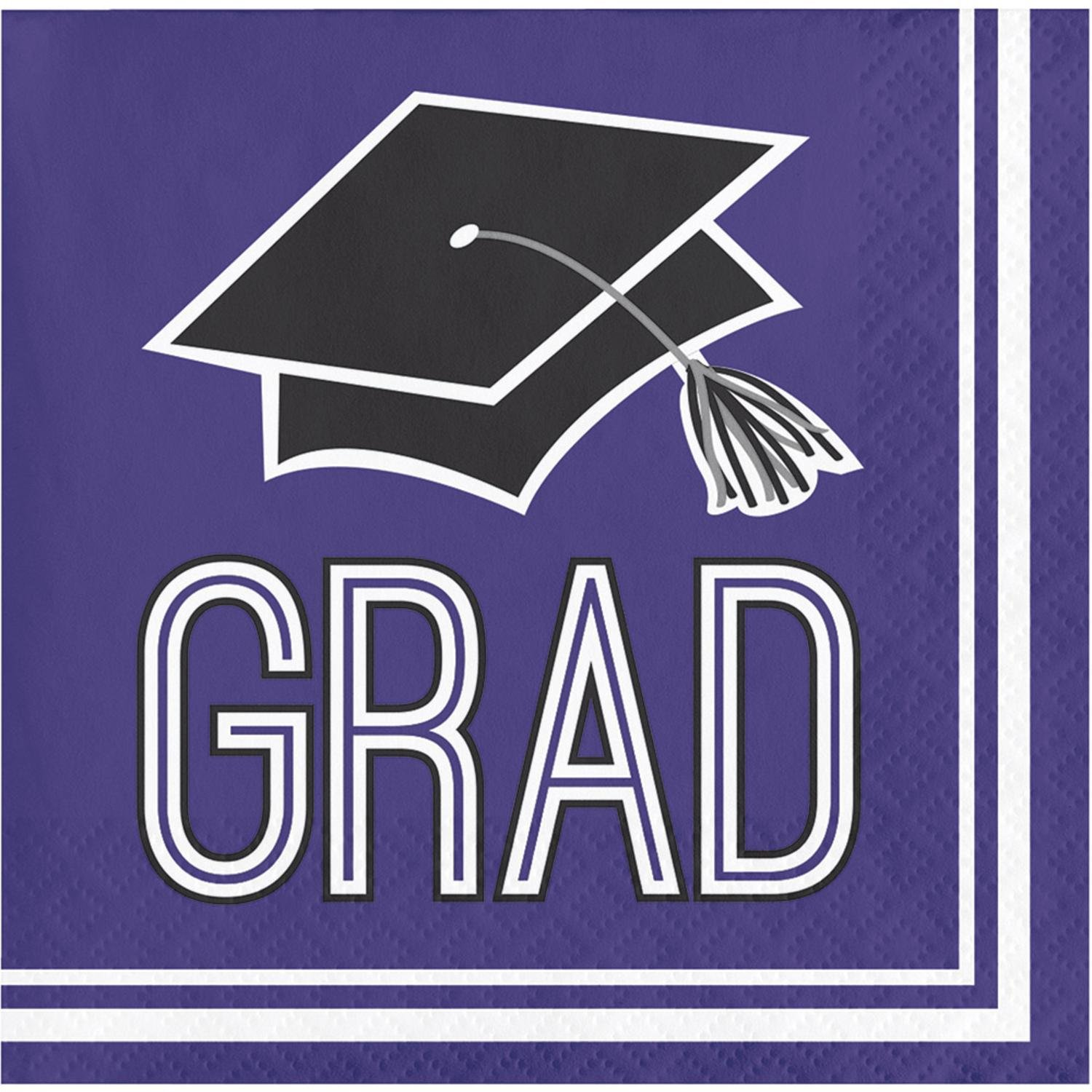 Club pack of 360 Purple and White school spirit Graduation Beverage Napkins 5'' by Party Central (Image #1)