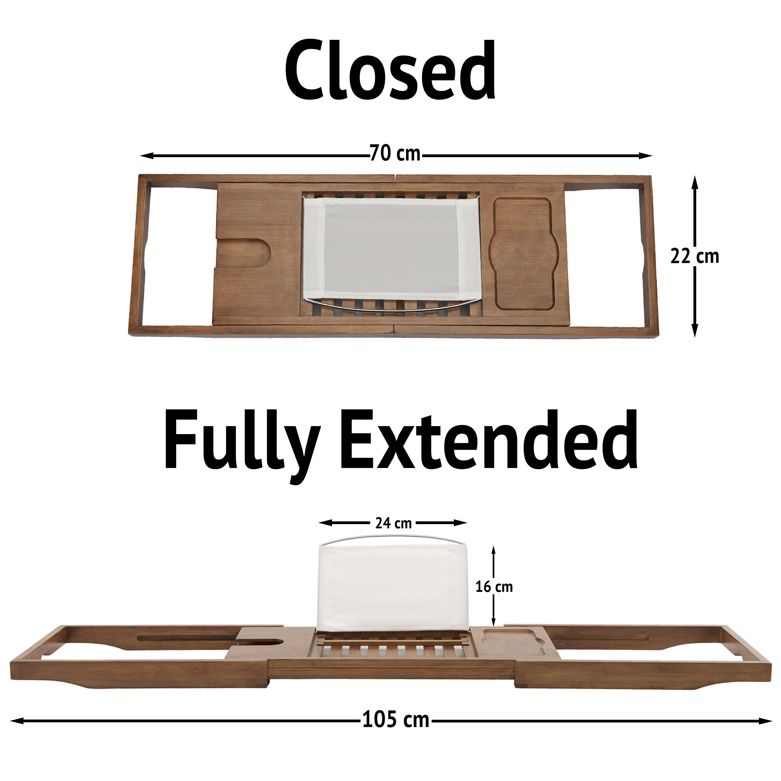 Luxury Dark Walnut Brown Bathtub Caddy, Natural Premium Bamboo Bath Tub Tray with Extending Sides, Reading Rack, Wine Glass, Book and Tablet Holder by Eden Bath (Image #6)
