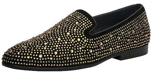 60a3e7d24bf Jump Newyork Men s Luna Round Toe Leather and Rhinestone Slip-On Smoking  Slipper Dress Loafer