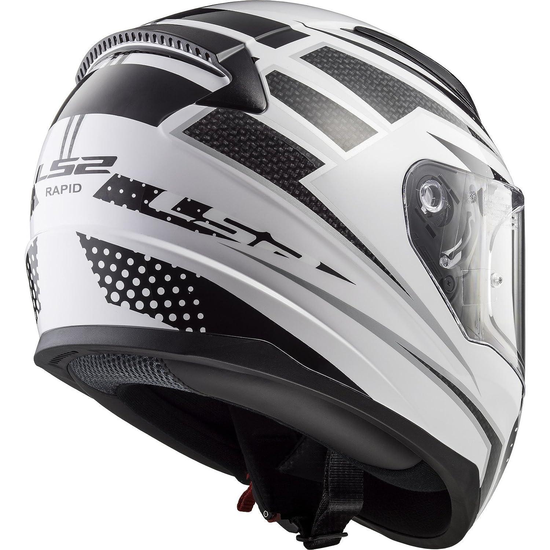 color blanco//negro//rojo talla S Casco de moto LS2 rejilla r/ápida