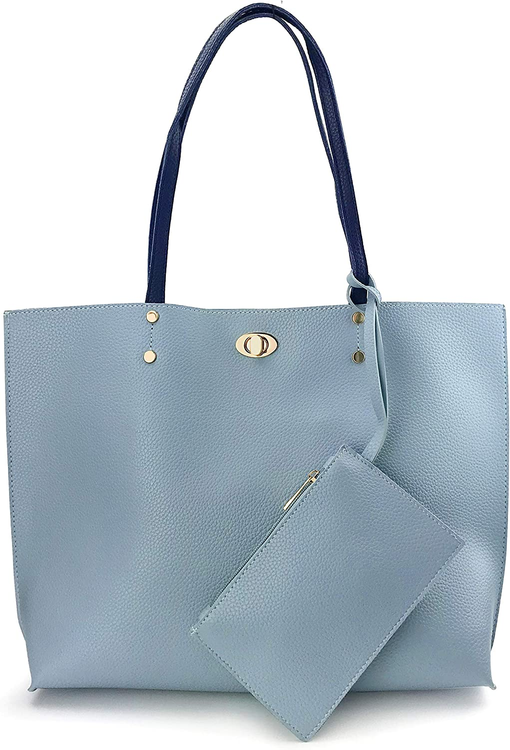 Women Tote With Zipper Wristlet Color-Block Pebbled Faux Leather Shoulder Handbag