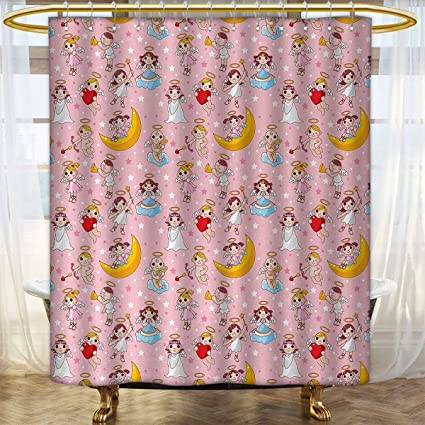 Angel Shower Curtain Collection By Fairies Playing Music Halo Cheerful Supernatural Creatures Nursery Theme Bathroom Decor