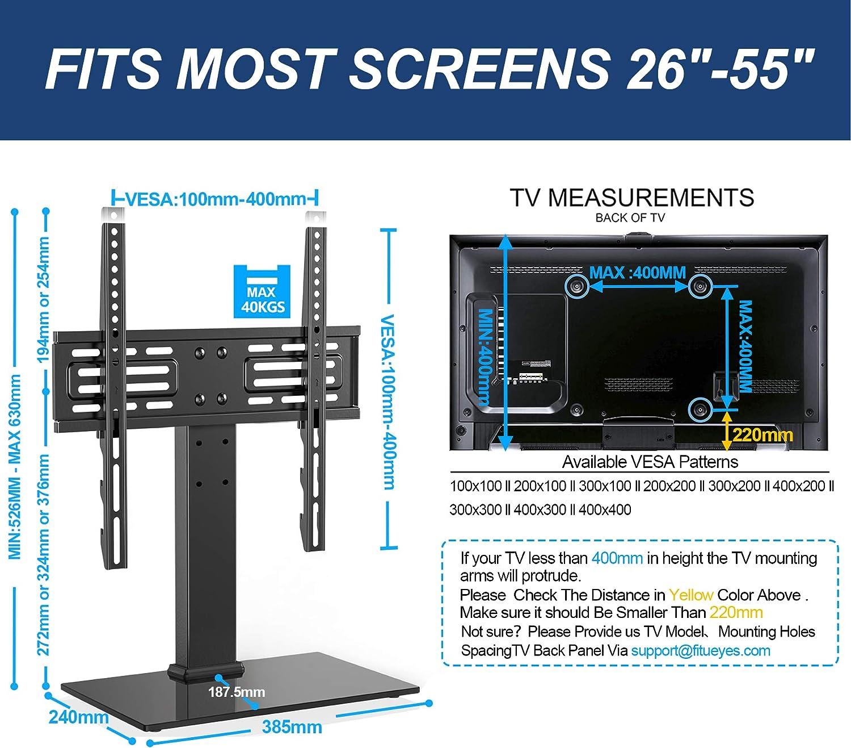 FITUEYES Soporte TV Pie de 26 a 55 Pulgadas Altura Ajustable MAX ...