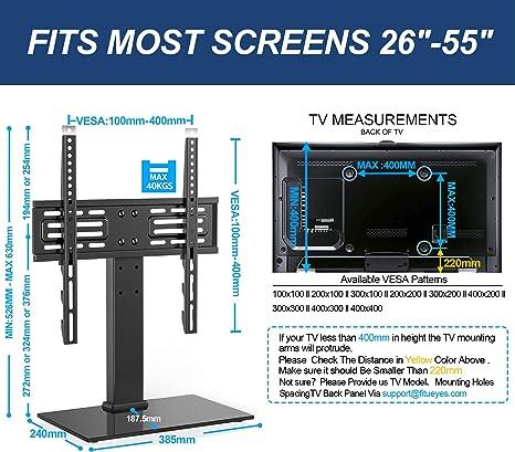 FITUEYES Soporte TV Pie de 26 a 55 Pulgadas Altura Ajustable MAX VESA 400 x 400 mm: Amazon.es: Electrónica