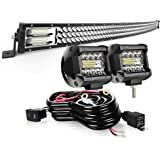 "AUSI LED Light Bar 50"" Curved 684W Triple Row Light Bars + 2PCS 4in 60W LED Pods Off Road Driving Fog Lights with Rocker…"