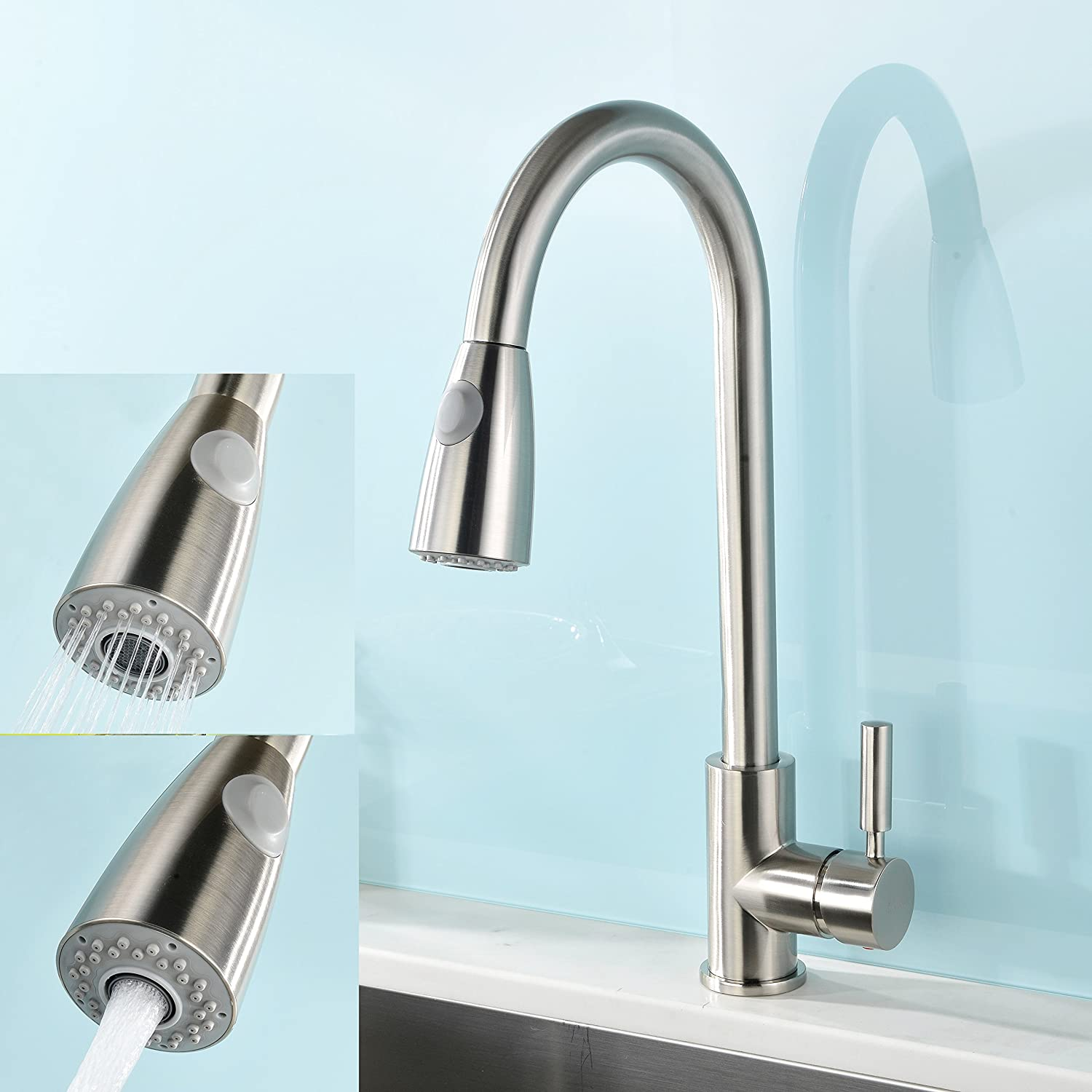 vapsint modern stainless steel single handle single hole pull out spray kitchen faucet brushed nickel - Kitchen Faucets