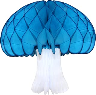 product image for 2-pack Large 16 Inch Honeycomb Tissue Paper Mushroom Party Decoration, Turquoise