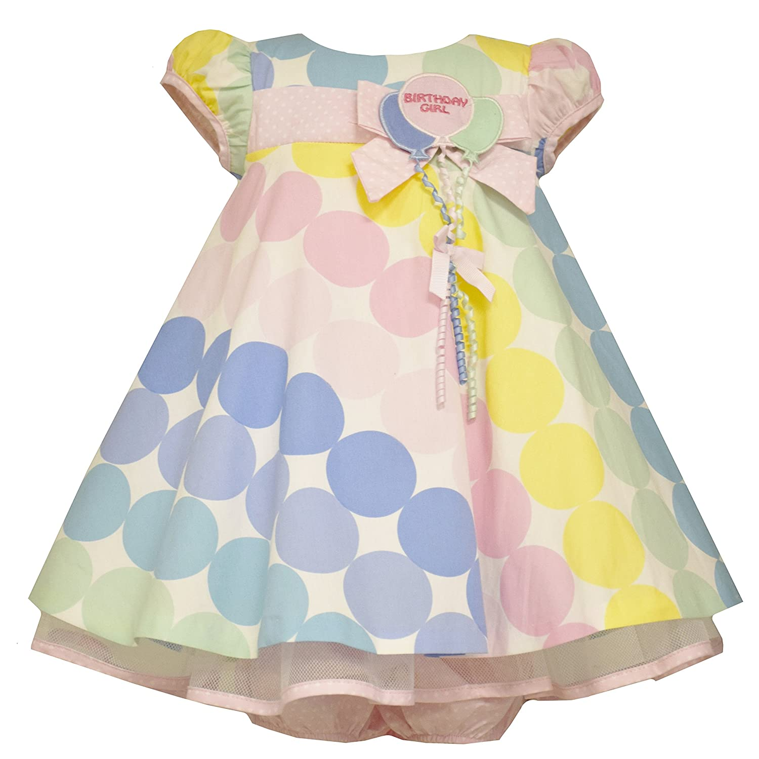 Bonnie Jean Baby Girls Polka Dot Pastel Balloon Birthday Dress, Pink, 12M-4T