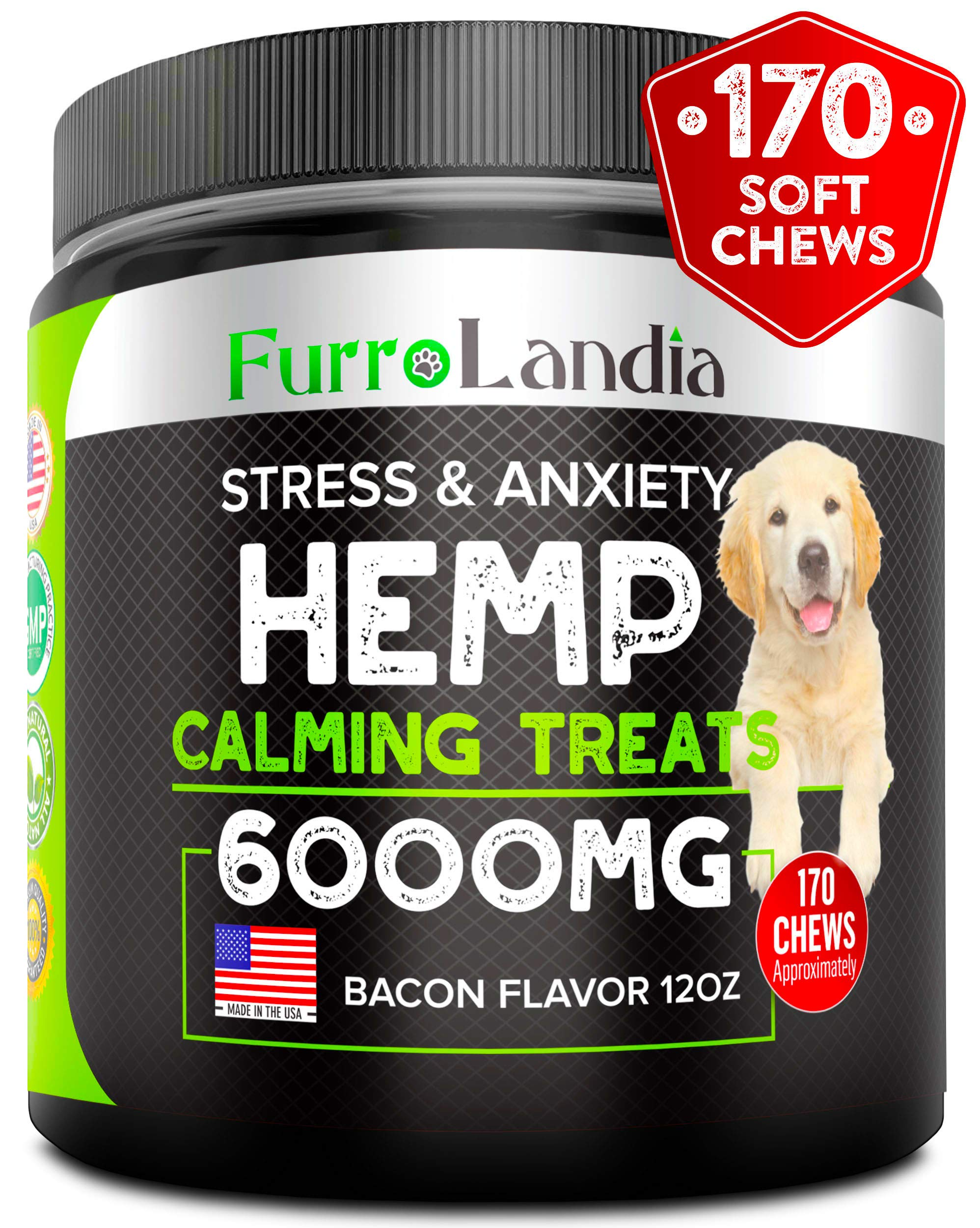 FurroLandia Hemp Calming Treats for Dogs - 170 Soft Chews - Made in USA - Hemp Oil for Dogs - Dog Anxiety Relief - Natural Calming Aid - Stress - Fireworks - Storms - Aggressive Behavior by FurroLandia