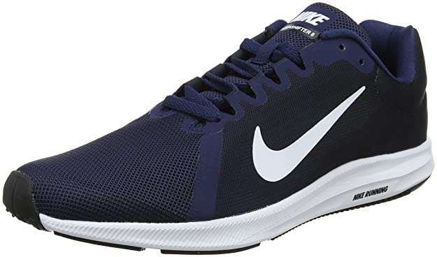 Amazon.com | Nike Mens Downshifter 8 Running Shoe Midnight Navy/White/Dark Obsidian/Black Size 12 M US | Road Running