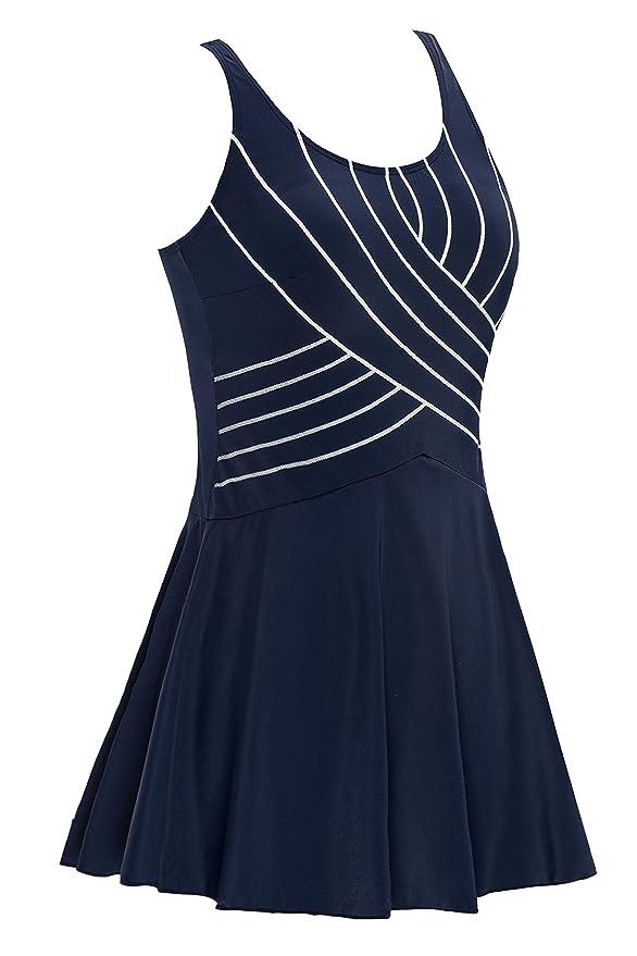Saejous Women's A Line Plus Size Linear Design One Piece Skirt Swimwear Swimsuit Bathing Suits