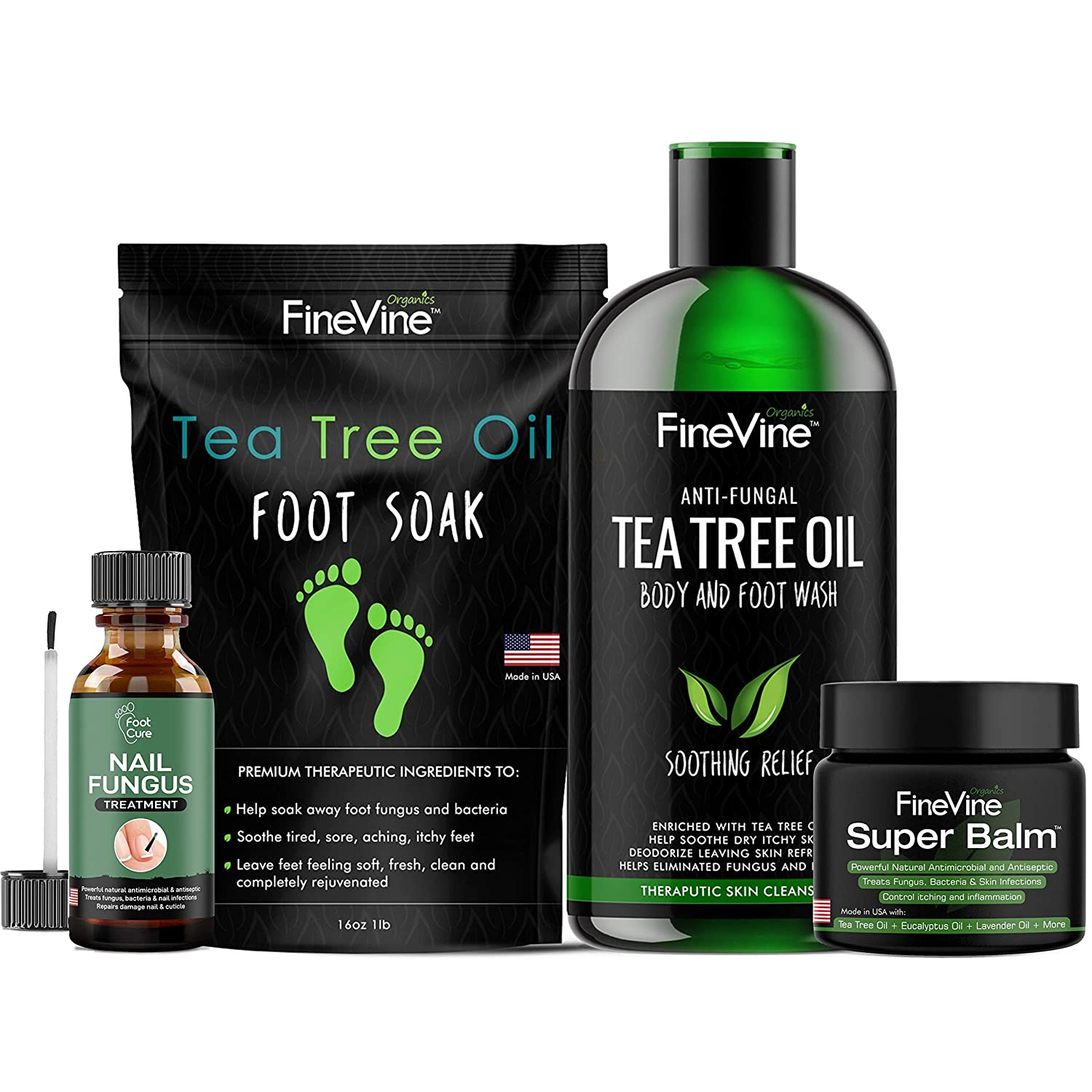 4 IN 1 FOOT CARE Treatment Kit, Made in USA, Includes Tea Tree Body Wash, Tea Tree Oil Foot Soak, Anti-Fungal Skin Balm and Toenail Fungus Remover – Get Rid of Bad Odor, Fungi and Athletes Foot.