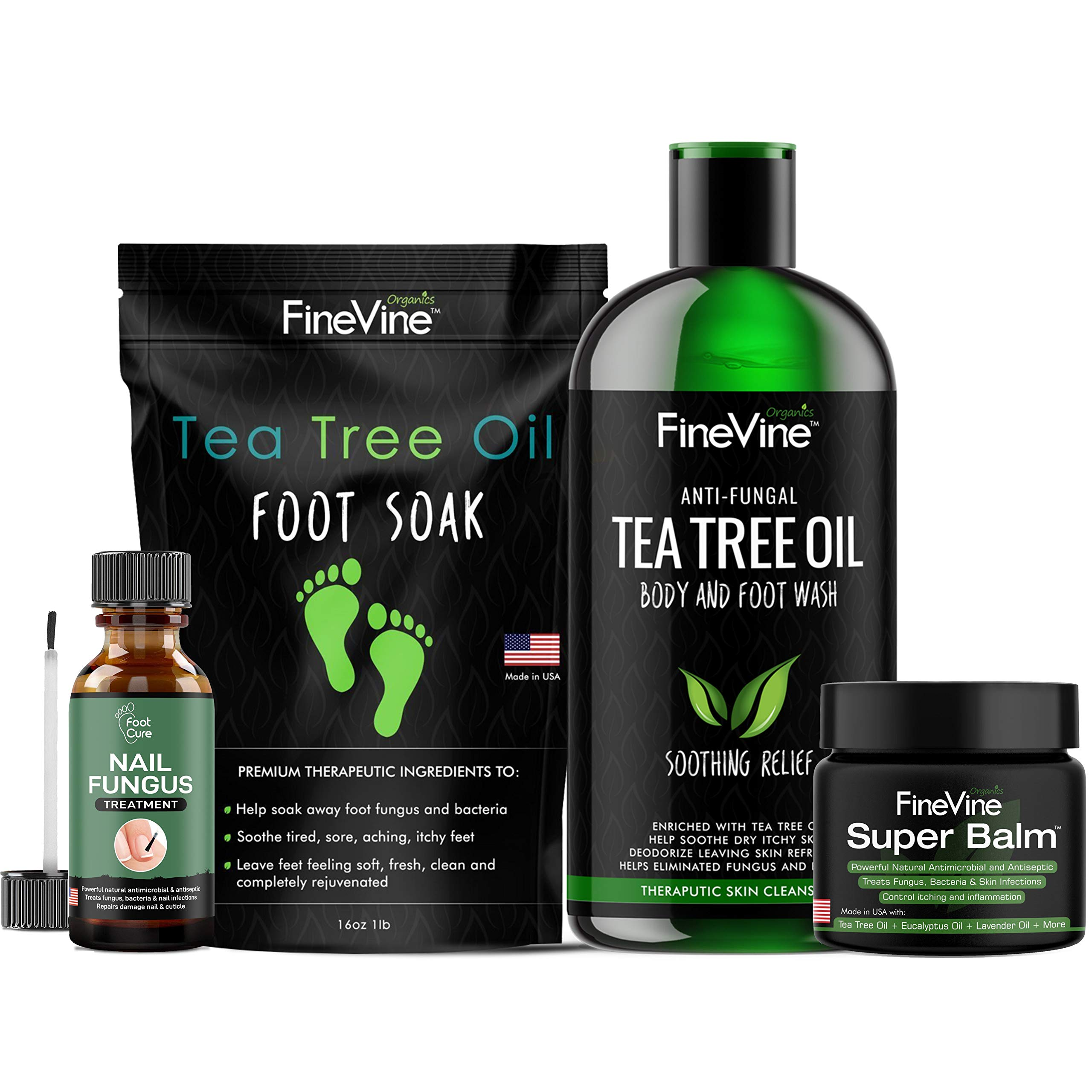 4 IN 1 FOOT CARE Treatment Kit, Made in USA, Includes Tea Tree Body Wash, Tea Tree Oil Foot Soak, Anti-Fungal Skin Balm and Toenail Fungus Remover - Get Rid of Bad Odor, Fungi and Athletes Foot. by FineVine Organics