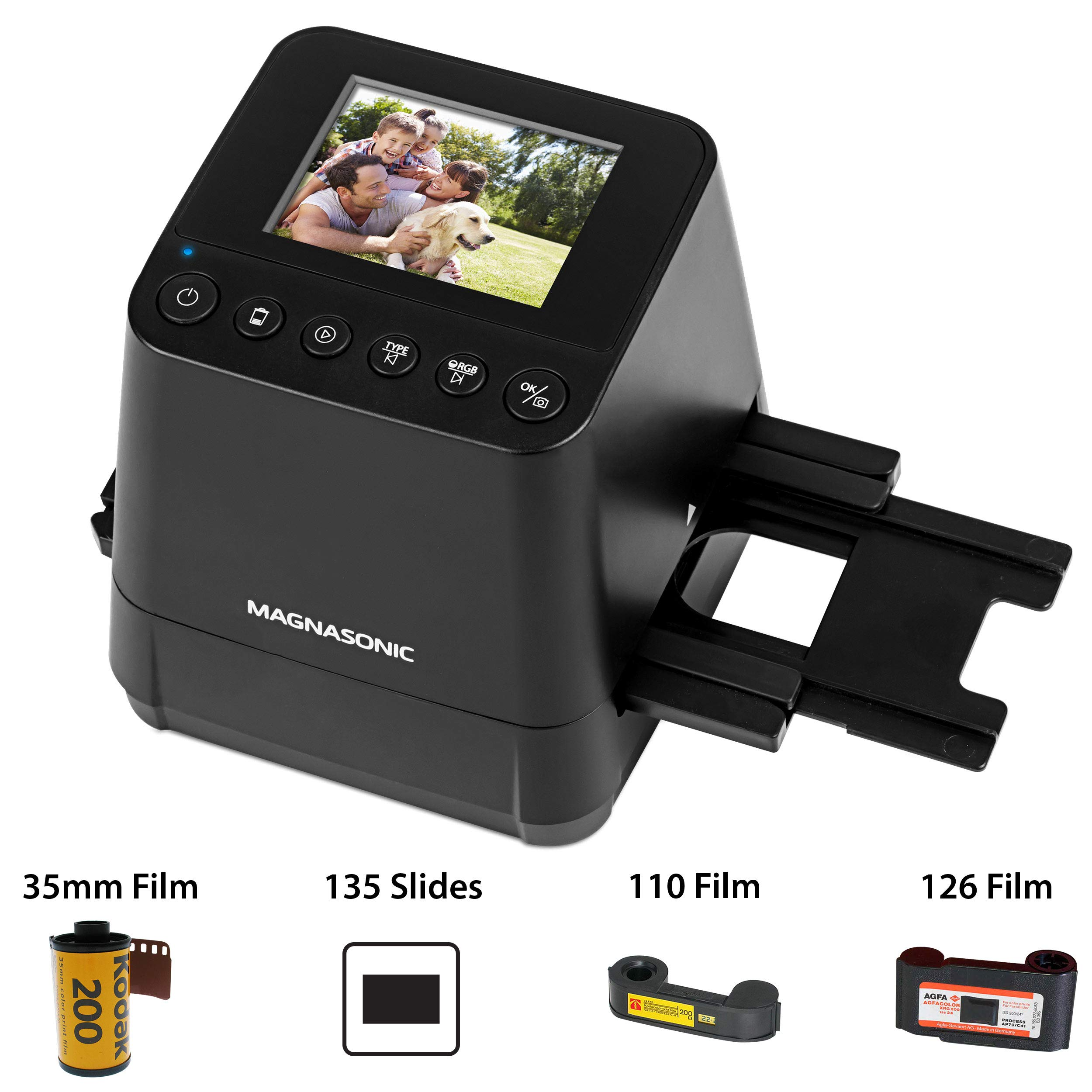 Magnasonic All-In-One Slide & Film Scanner, High Resolution 23MP, Converts 35mm/110/126 Negatives & 135 Slides into Digital Photos, Vibrant 2.4'' LCD Screen, Built-In Memory, High Speed Scanning (FS51)