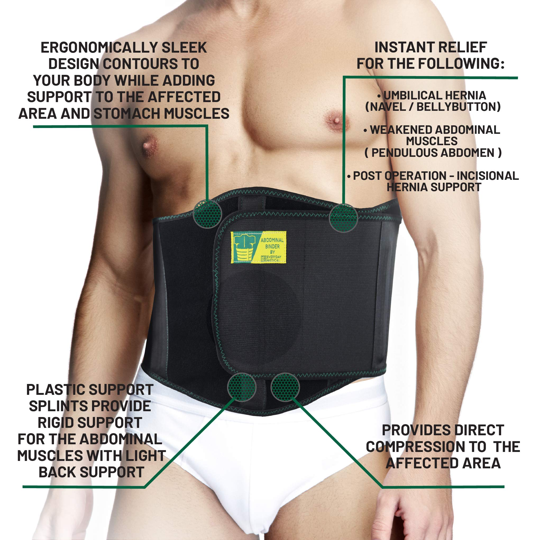 Ergonomic Umbilical Hernia Belt – Abdominal Binder for Hernia Support – Umbilical Navel Hernia Strap with Compression Pad – Ventral Hernia Support for Men and Women - Large/XXL Plus Size (42-57 in) by Everyday Medical (Image #2)
