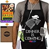 Grill Aprons Kitchen Chef Bib - Famgem Dinner is Coming Professional for BBQ Baking Cooking for Men Women / 100% Cotton Adjustable 3 Pockets Black