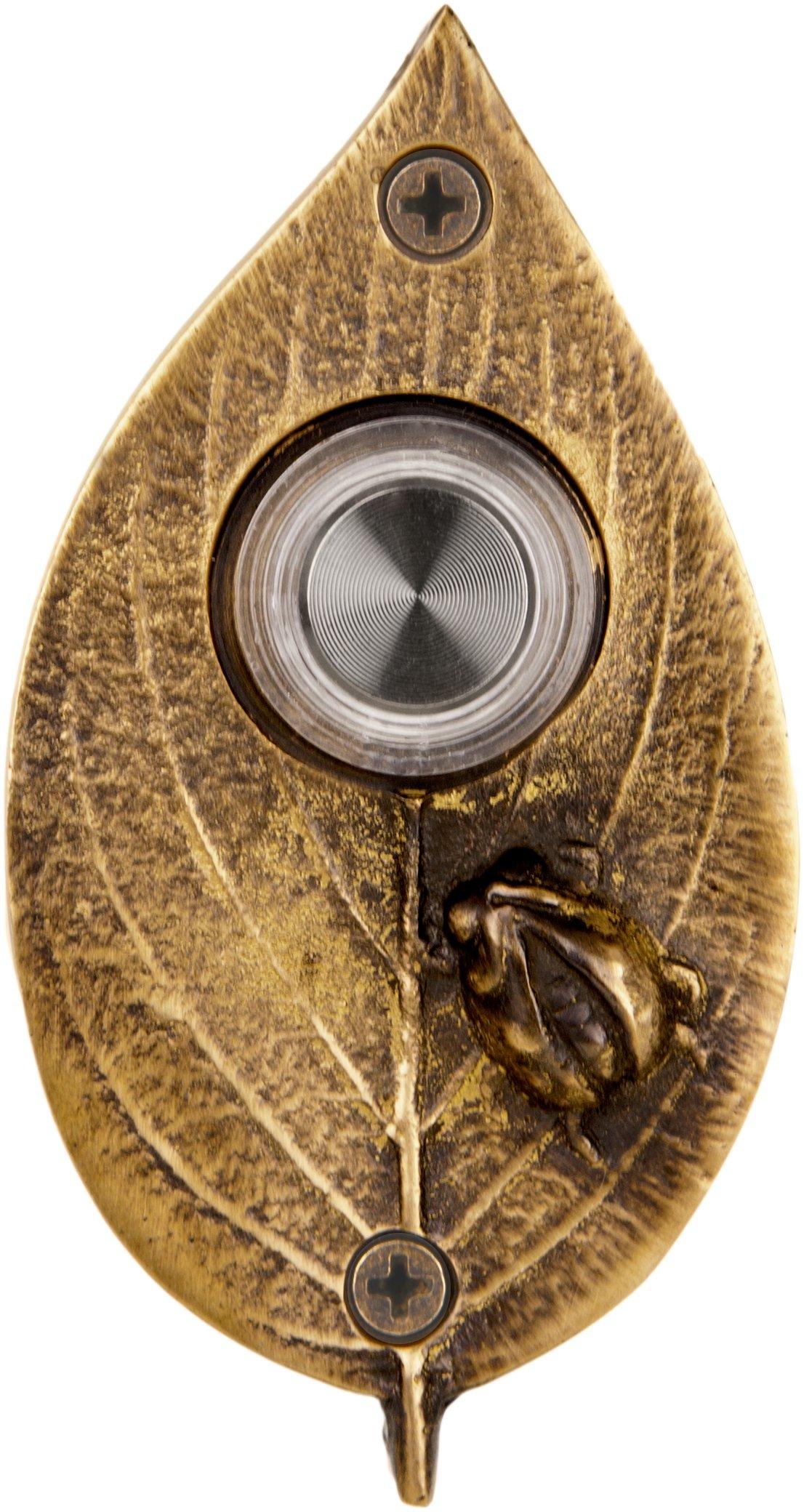 Waterwood Solid Brass Ladybug on Leaf Doorbell in Antique Brass