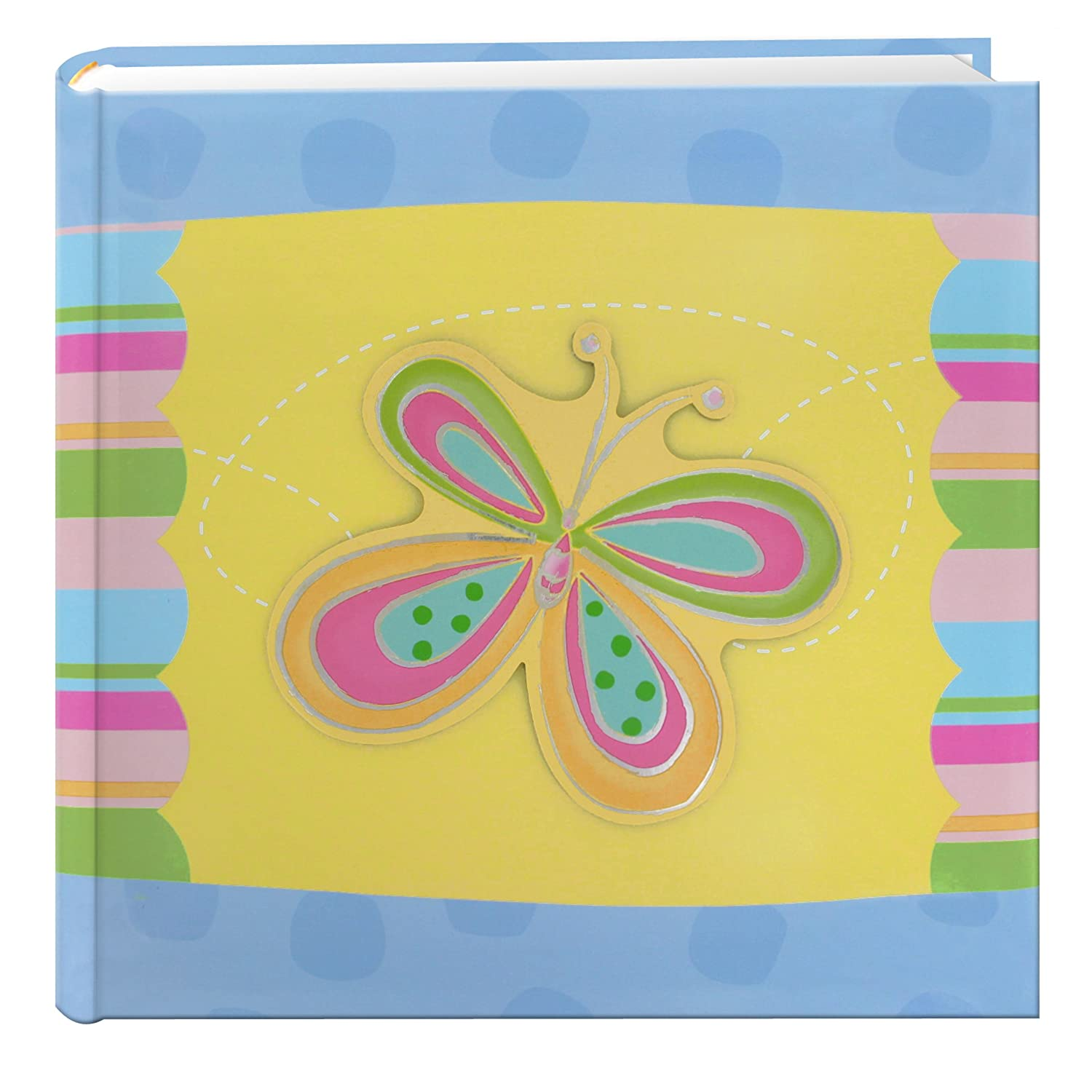 Pioneer Photo Albums 200-Pocket 3-D Striped Butterfly Applique Cover Photo Album, 4 by 6-Inch DA-200Z/B