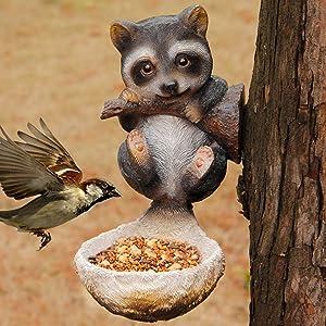 Juegoal Raccoon Bird Feeder Tree Decor Outdoor, Hanging Garden Statues, 2 oz Wild Seed Birdfeeder Tree Hugger Sculpture, Whimsical Garden Decorations