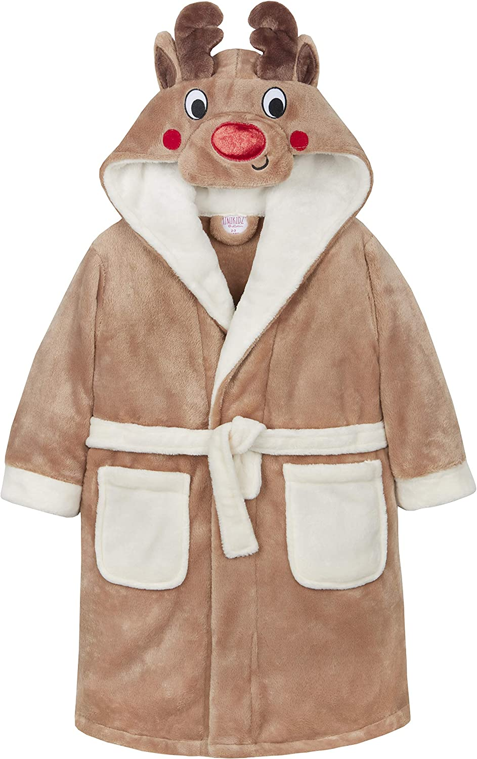 Metzuyan Boys and Girls Rudolph Reindeer Novelty Hooded Plush Dressing Gown Robe