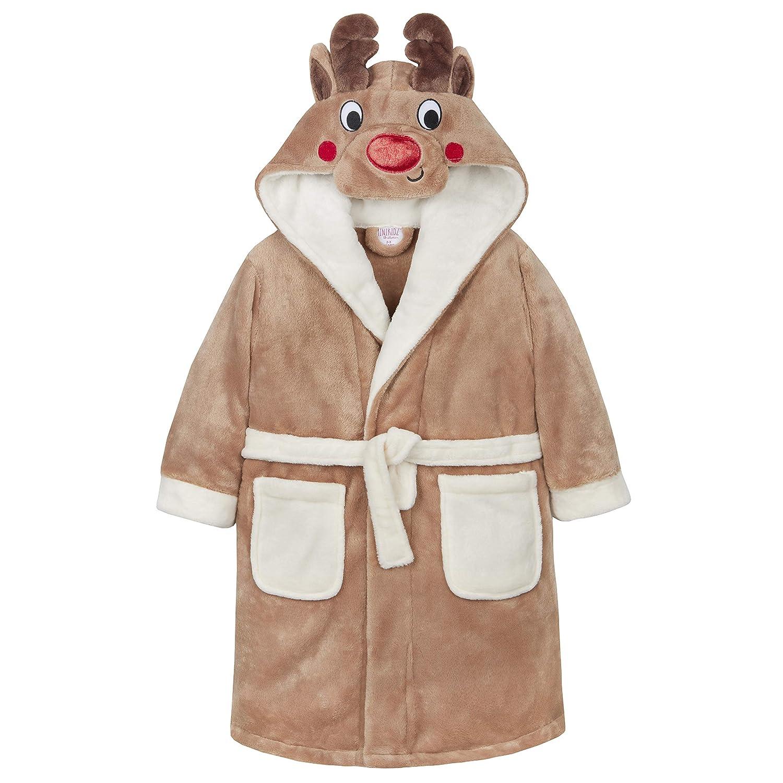 Amazon.com  MiniKidz Kids Childrens Unisex Novelty Reindeer Xmas Robe (Ages  2-13) Hooded Fleece Christmas Bathrobe  Clothing 981b25df9