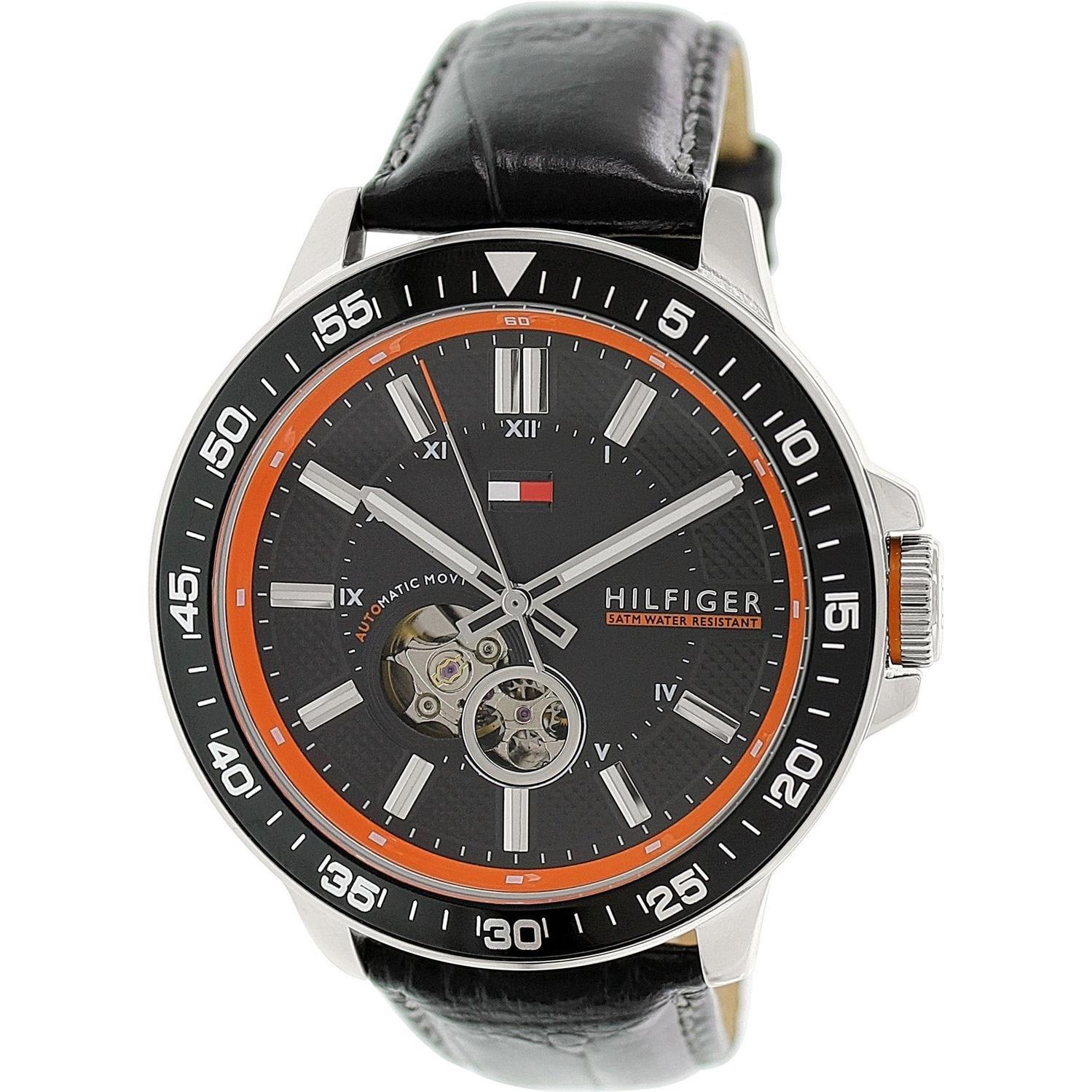 Buy Tommy Hilfiger Brooks Black Dial Black Leather Mens Watch