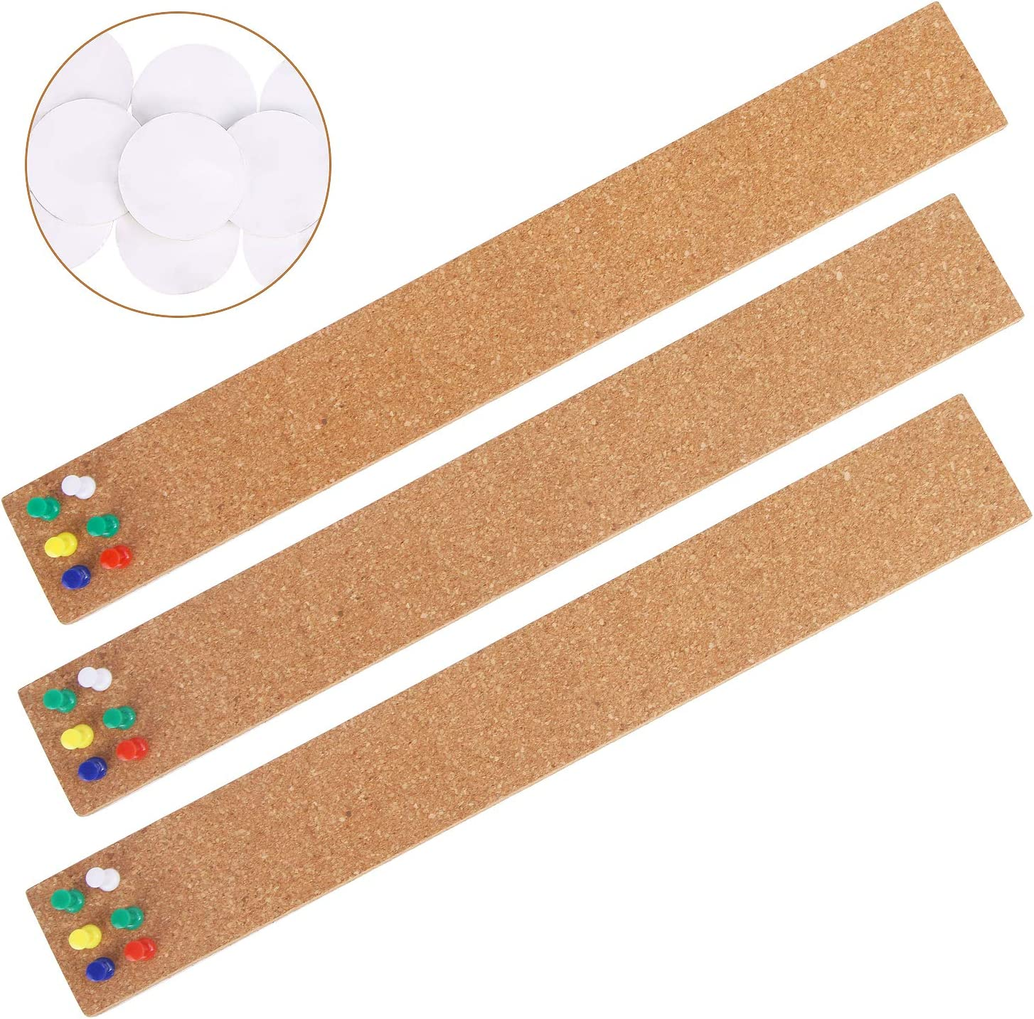 "3 Pcs Bulletin Strip Cork Strip Cork Bulletin Bar Strip Natural Frameless Cork Board Strips with Strength Adhesive Backing for Office, School, Home Holiday Decor 15"" X 2""- 1/2"" Thick"