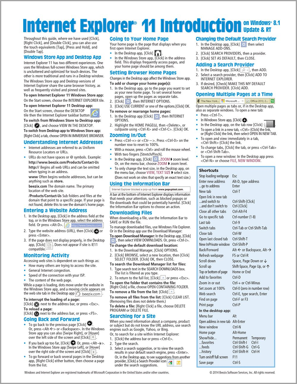 Internet Explorer 11 for Windows 8 1 Update Quick Reference