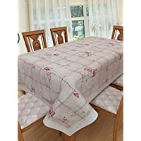 Clasiko 6 Seater PVC Table Cover; Red Pink Flowers On Pink Base; Anti Slip; 60x90 Inches; 6 Seater