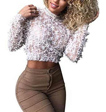 d1c14d57e47b Felicity Young Women Long Sleeve Sheer See Through Mesh Lace Crop Top  Floral Crochet Mock Neck