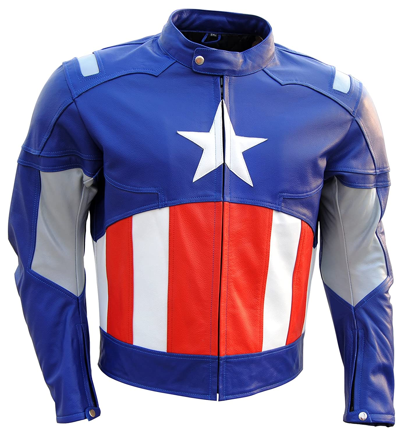 The Avengers: Captain America Genuine Leather Motorbike Jacket - DeluxeAdultCostumes.com