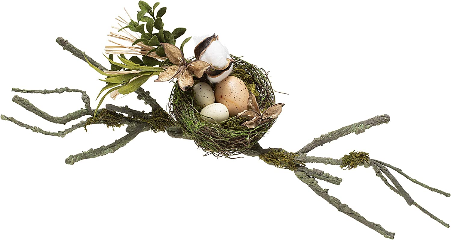 Darice Moss Birds Nest Decor with Branches: 21 inches, Multicolor