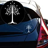 "Tree of Gondor Decal Sticker From Lord of the Rings for Car Window, Laptop, Motorcycle, Walls, Mirror and More. # 545 (6"" x 4"", White)"