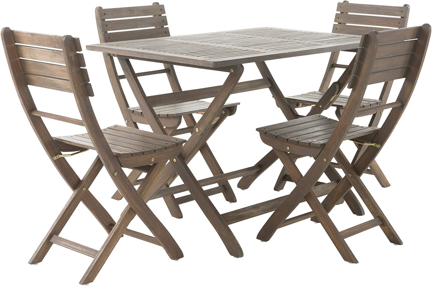 Christopher Knight Home 299808 Vicaro 5 Piece Wood Outdoor Dining Set Perfect for Patio in Grey