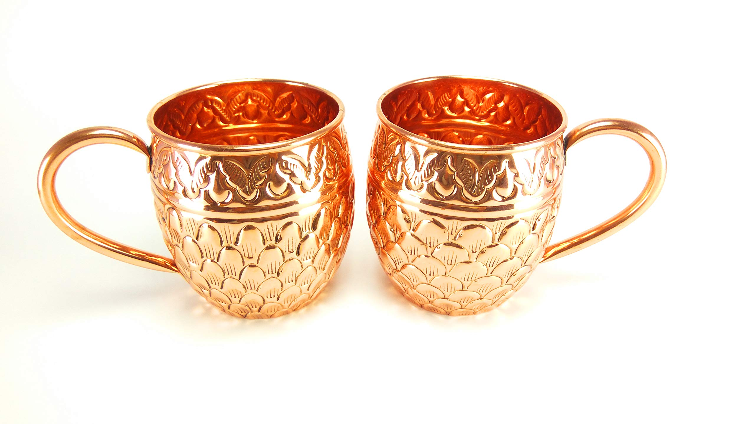 Moscow Mule Copper Mugs - Set of 4-100% PURE COPPER HANDCRAFTED - Food Safe Pure Solid Copper Mugs - 16 oz Gift Set with BONUS: Highest Quality Cocktail Copper Straws