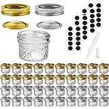 Mason Jars Canning Jars, 4 OZ Jelly Jars With Regular Lids and Bands, Ideal for Jam, Honey, Wedding Favors, Shower Favors, Ba