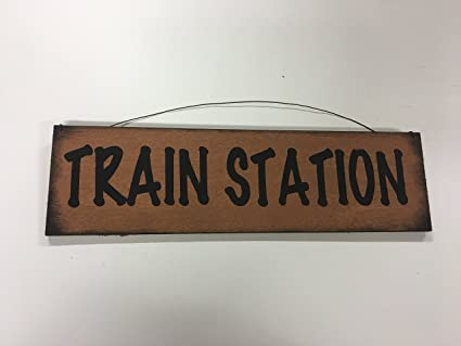 Amazon.com: The Little Store Of Home Decor Train Station Wooden ...