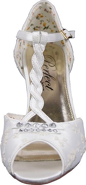 BridalHazel Zapatos de Novia Mujer, Color Blanco, Talla 42