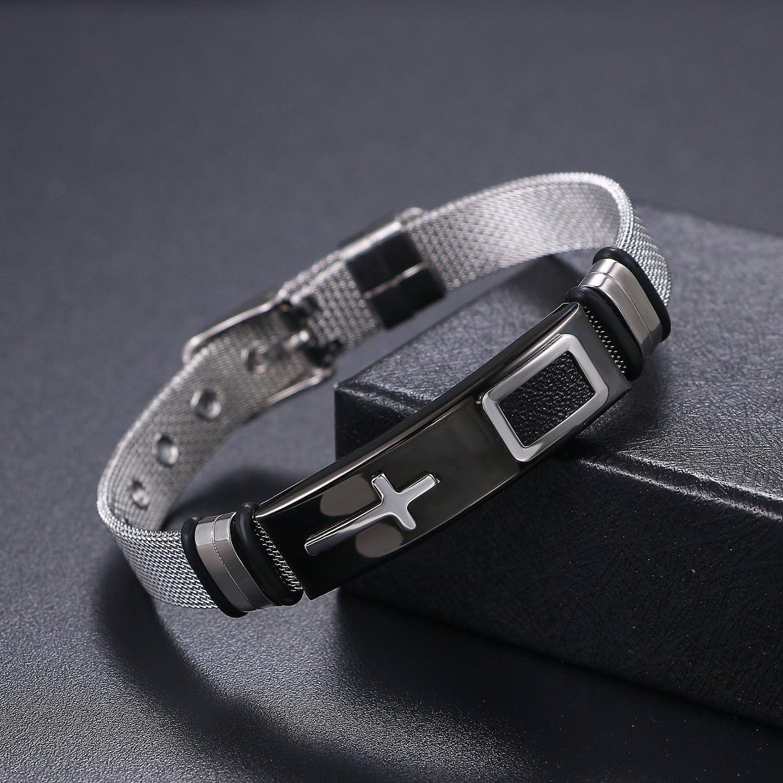 Oidea Bracelet cha/îne /à maille et croix pour homme Acier inoxydable Couleur au choix