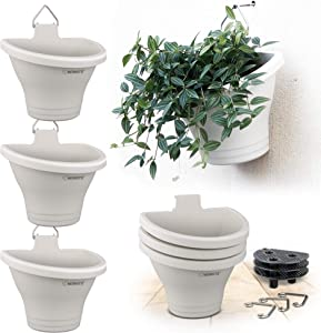 Hanging Vertical Planter, NEWKITS 3 Pcs Modular Hanging Planters Free Combination Wall Planter for Yard Garden Outdoor and Indoor Hanging Decorations - White