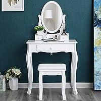 Songmics Schminktisch 3 Schubladen mit Spiegel Hocker, weiß, 70 x 130 x 40 cm