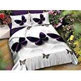 Belomoda 5D Purple butterfly Print Single BedSheet With 1 Pillow Cover With Zip pouch