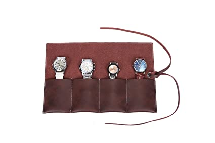 c48e4ca86493d Handmade Durable Suede Leather Watch Roll Traveling Case Watch Roll-up  Organizer Holds 4 Wristwatches Bracelets Individually for Men or Women ...
