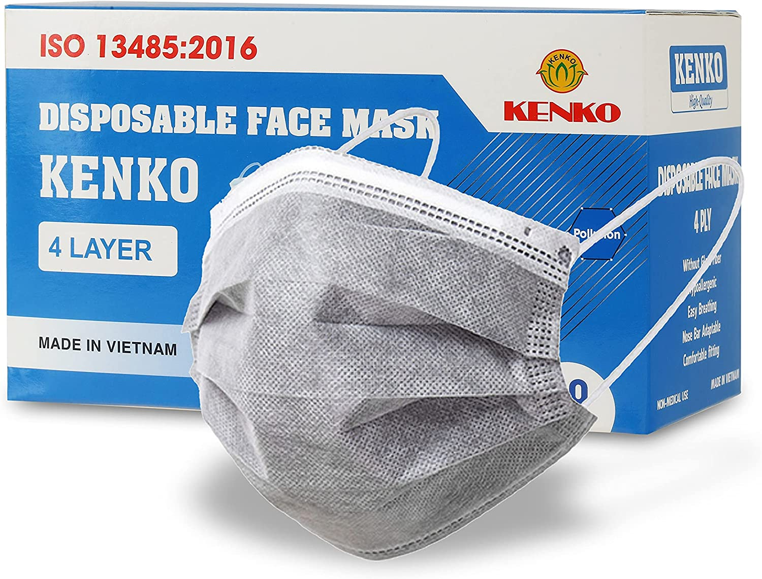 KENKO Disposable 4-Ply Face Masks, Breathable & Comfortable Filter Safety Mask, Protection Grey Mask for Dust Air Pollution: Clothing