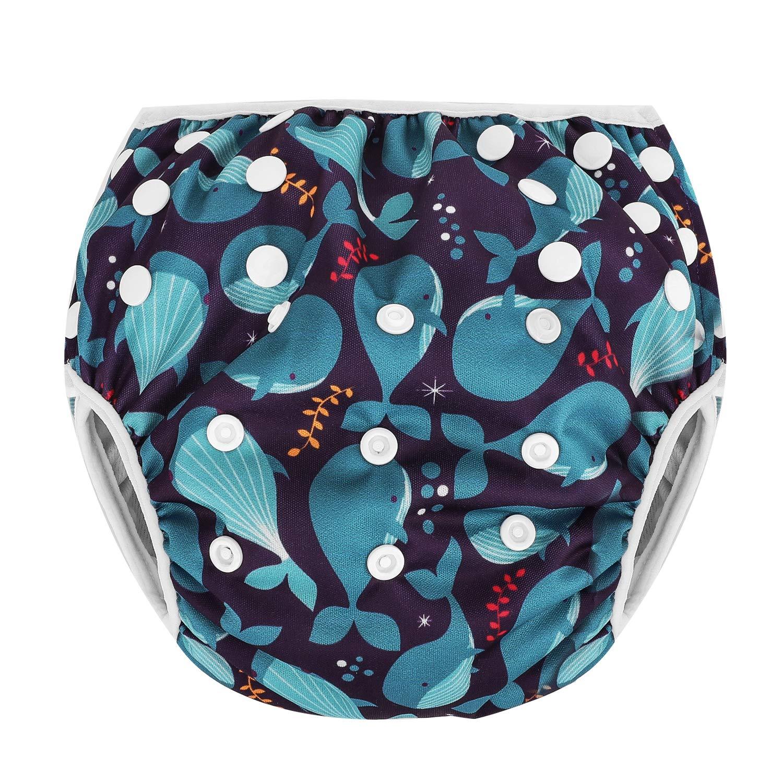 Zooawa Baby Reusable Swim Diaper, Washable One Size Adjustable Training Swimsuit Diaper Swim Underwear for Infant Toddler, Flamingo