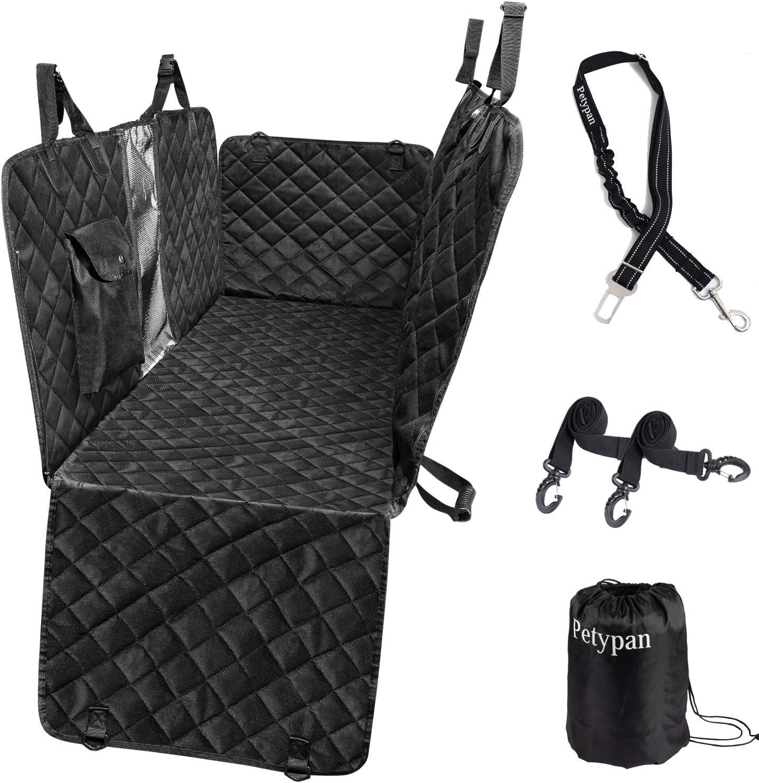 Petypan 100% Waterproof Anti Slip Car Back Dog Hammock Pet Car Seat Cover with Mesh Window Side Flap ,Pet Seat Cover for Back Seat - Black