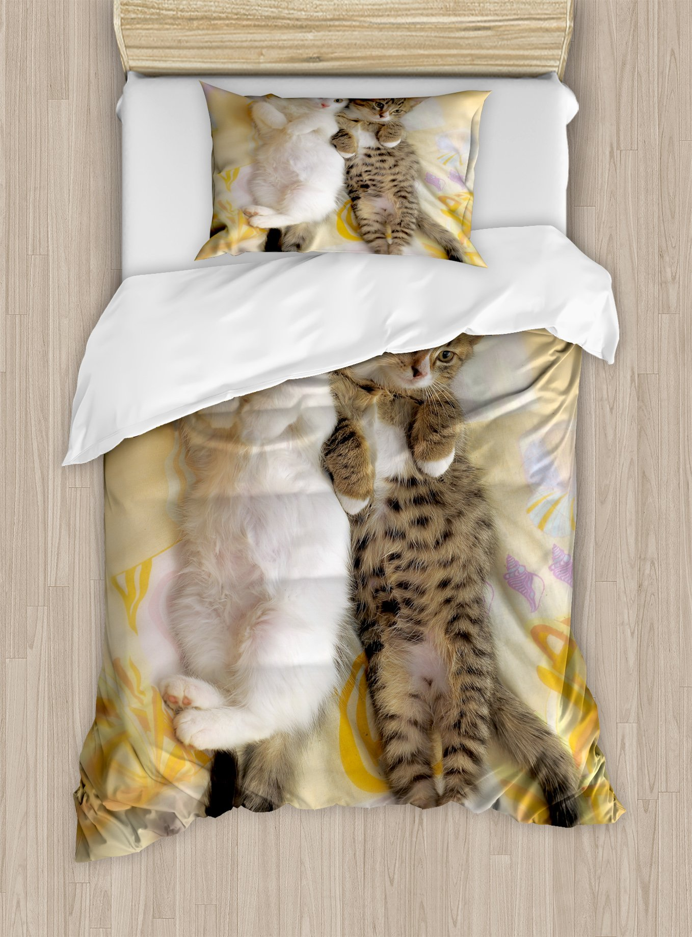 Ambesonne Funny Duvet Cover Set Twin Size, Kitten Siblings Lying Beside Sleepy Heads Cat Pet Animal Lovers Best Friends Image, Decorative 2 Piece Bedding Set with 1 Pillow Sham, Multicolor