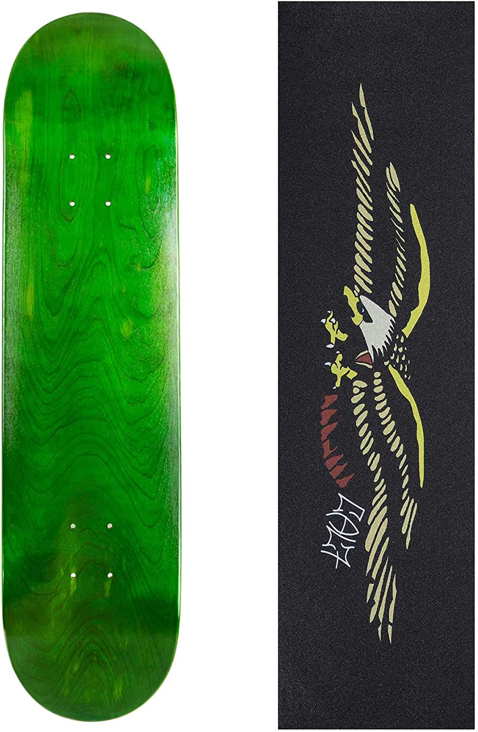 Cal 7 Blank Skateboard Deck with Mob Green Glitter Grip Tape 7.75 8.25 and 8.5 Inch 8.0 Maple Board for Skating