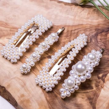 Cholet (Gold) Pearl Hair Clips, Fashion Hair Accessories For Women, Girls   4pcs   Big Pearl Hair Pins Decorative   Barrettes For Styling, Party, Birthday, Bridal – Fashion Bobby, Alligator, Snap Clip by Cholet